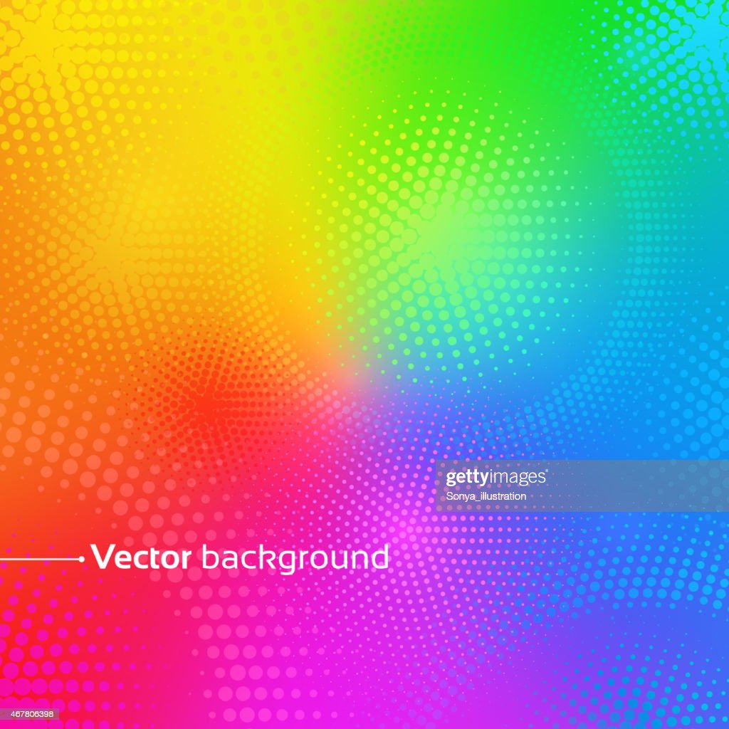 Rainbow vector background with dots.