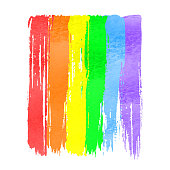 Rainbow vector watercolor hand drawn paint