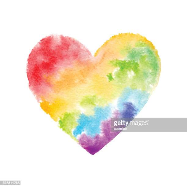 rainbow watercolor heart - rainbow stock illustrations, clip art, cartoons, & icons