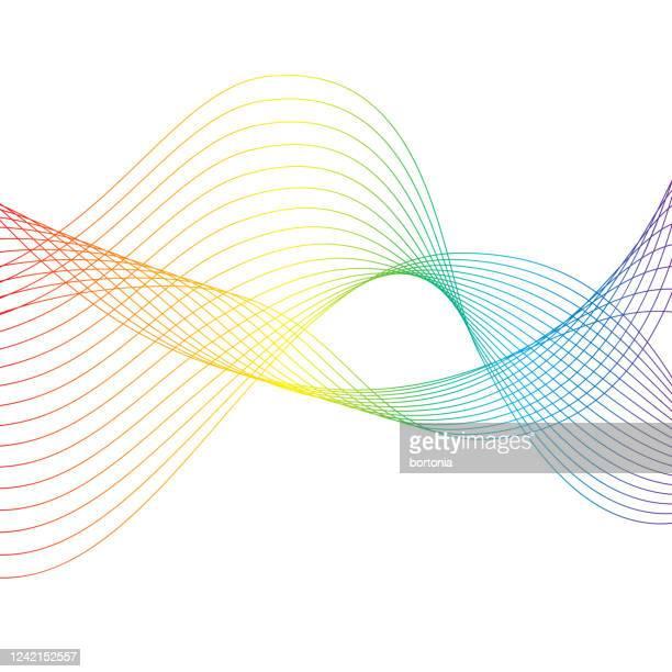 ilustraciones, imágenes clip art, dibujos animados e iconos de stock de ola del arco iris sobre fondo transparente - blanco color