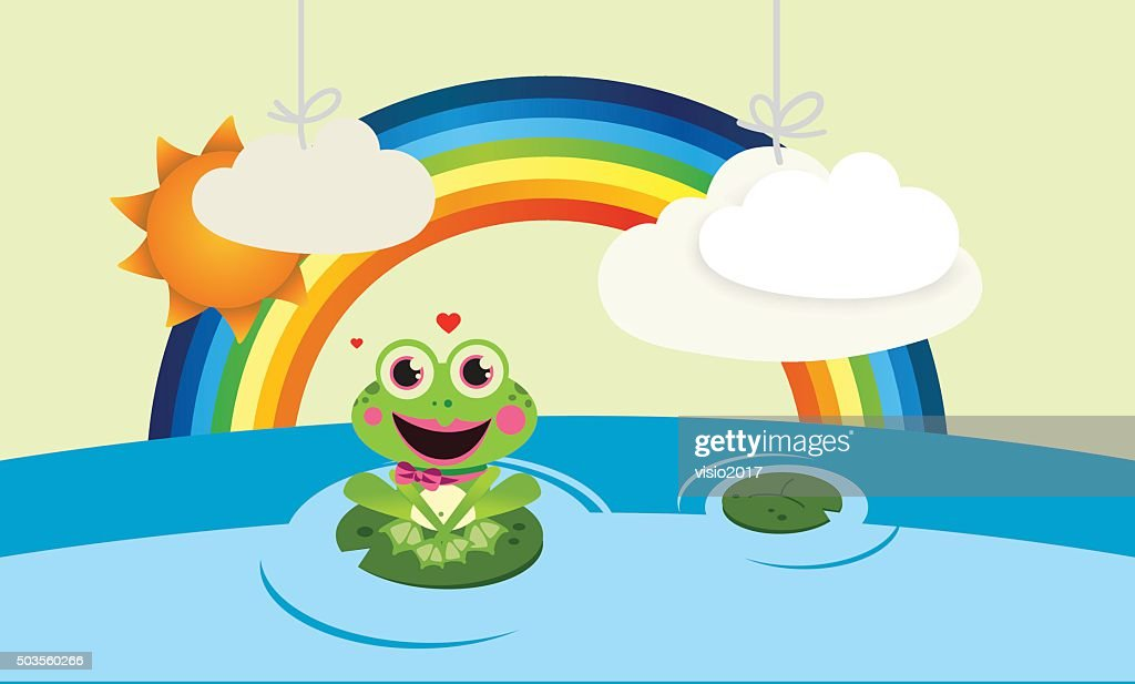 Rainbow with frog and clouds