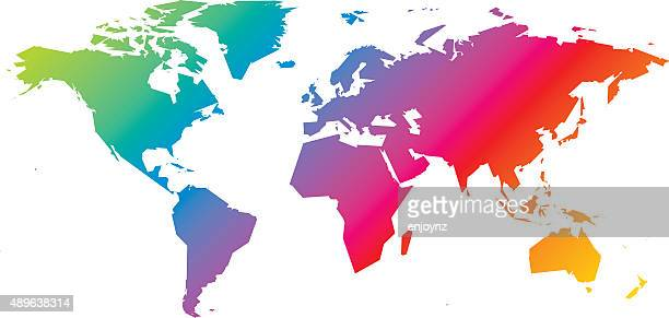 rainbow world map - simplicity stock illustrations, clip art, cartoons, & icons