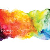 Rainbow-colored watercolor illustration over white