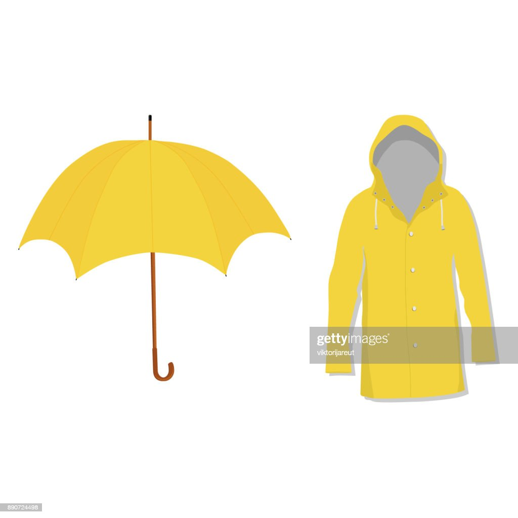 Raincoat and umbrella