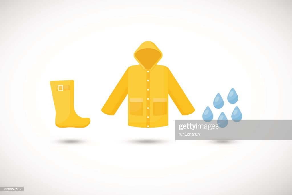 Raincoat, rainboots and rain drops vector flat icons set