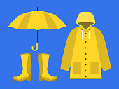 raincoat, rubber boots, open umbrella, set of rainy season in flat on blue background design vector