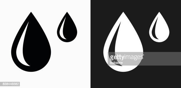 Raindrops Icon on Black and White Vector Backgrounds