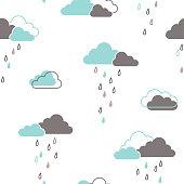 Rainy clouds seamless pattern