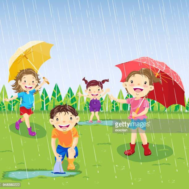 rainy day in spring - puddle stock illustrations, clip art, cartoons, & icons