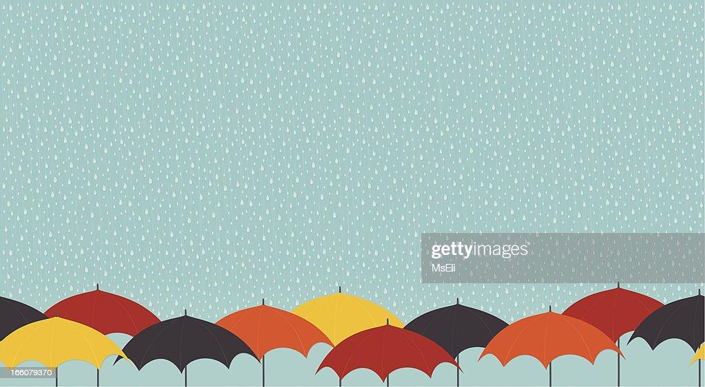 Rainy day with umbrellas