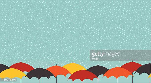 rainy day with umbrellas - torrential rain stock illustrations