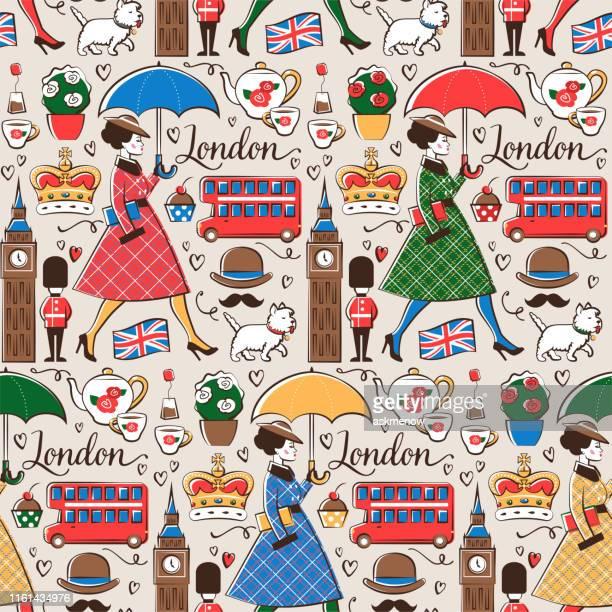 Modèle sans couture de Londres pluvieux