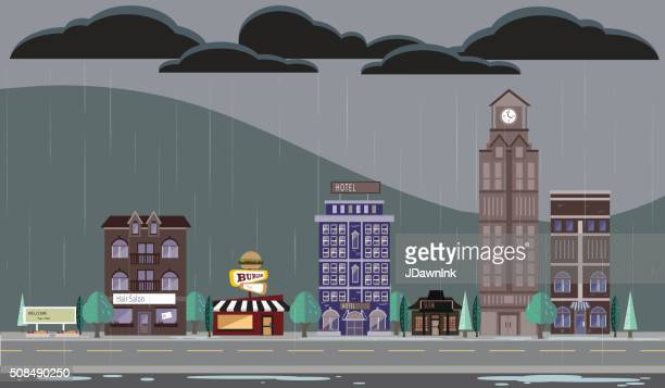 Rainy or stormy Season Cityscape with buildings