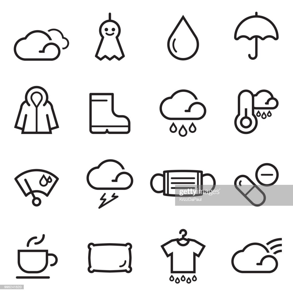 Rainy Season Thin Line Icons