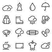 Rainy Season Thin Line Icons