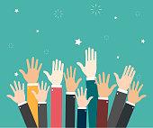 Raise hands. Hand gesturing. Volunteering. Voting. Green background. Vector illustration