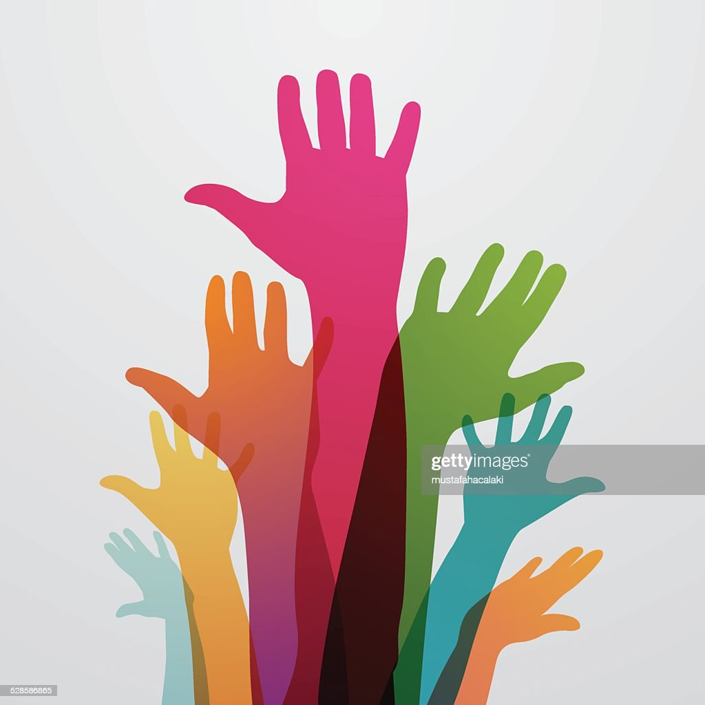 Raised colourful hands