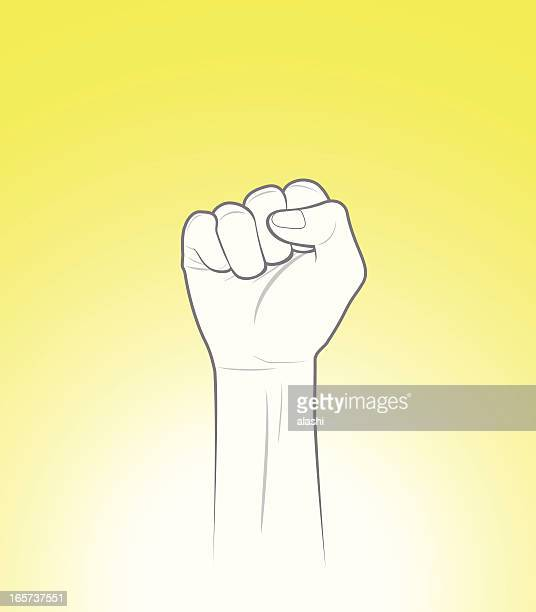 raised fist - sign language stock illustrations, clip art, cartoons, & icons