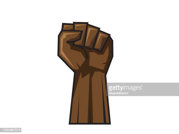 raised hand in clenched fist. vector - fist stock illustrations