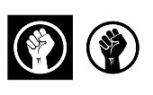 Raised hand with clenched fist in a circle. Set of icons depicting solidarity, anti-racism, protest and strength.