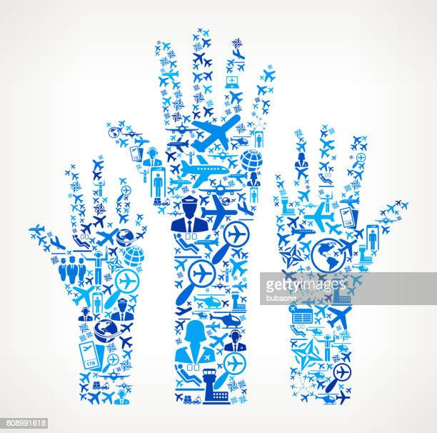Raised Hands Aviation and Air Planes Vector Graphic
