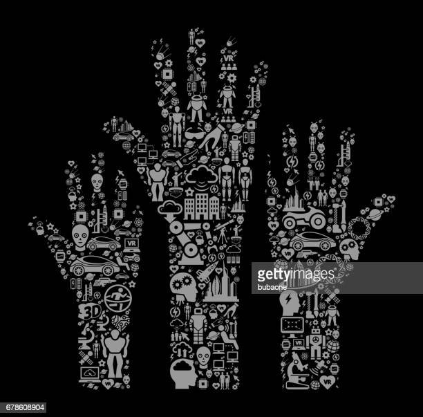 Raised Hands Future and Futuristic Technology Black Icon Background