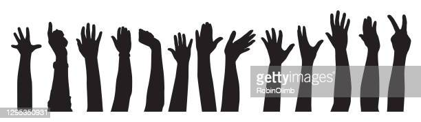 raised hands sihouettes - close to stock illustrations