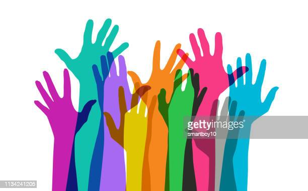raised hands - diversity stock illustrations