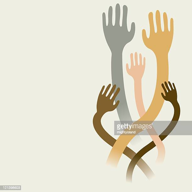 raised hands - stretched image stock illustrations, clip art, cartoons, & icons
