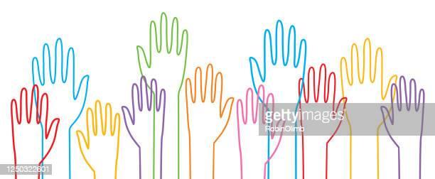 lgbtq raised hands - respect stock illustrations