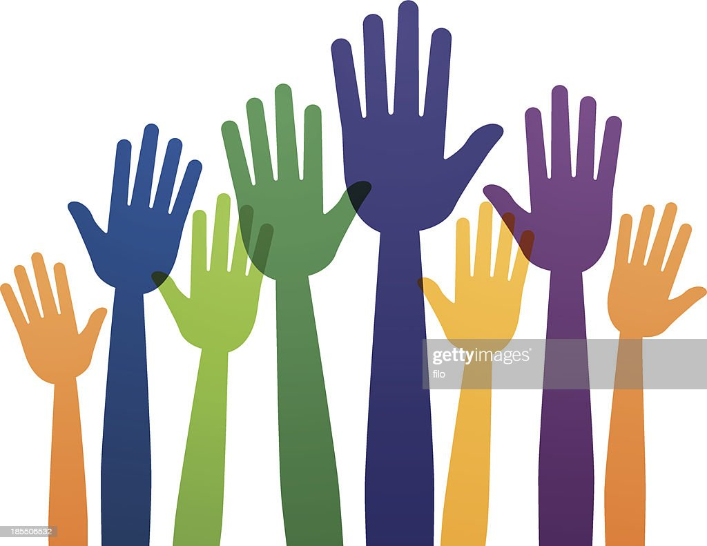 raised hands vector art getty images rh gettyimages com raised hand clip art free