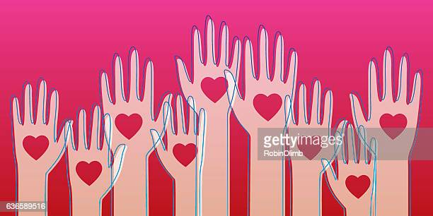 raised heart hands - political rally stock illustrations, clip art, cartoons, & icons