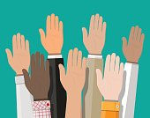 Raised up hands. People vote hands.