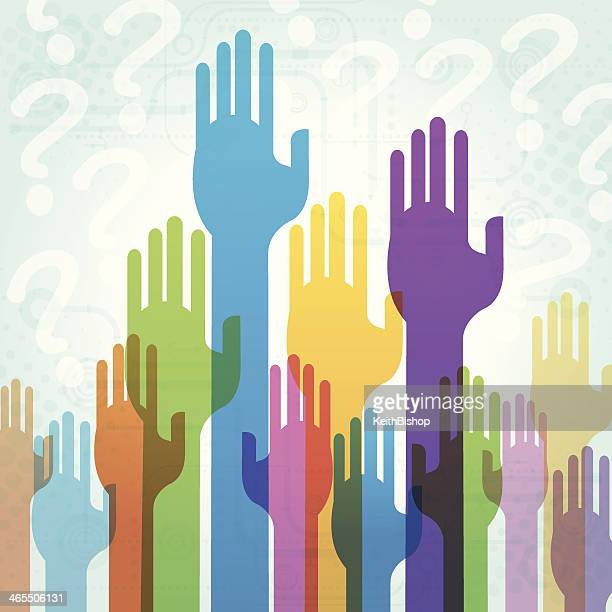 Raising Hands and Asking Questions or Answer Background