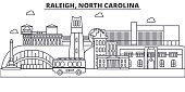 Raleigh, North Carolina architecture line skyline illustration. Linear vector cityscape with famous landmarks, city sights, design icons. Landscape wtih editable strokes