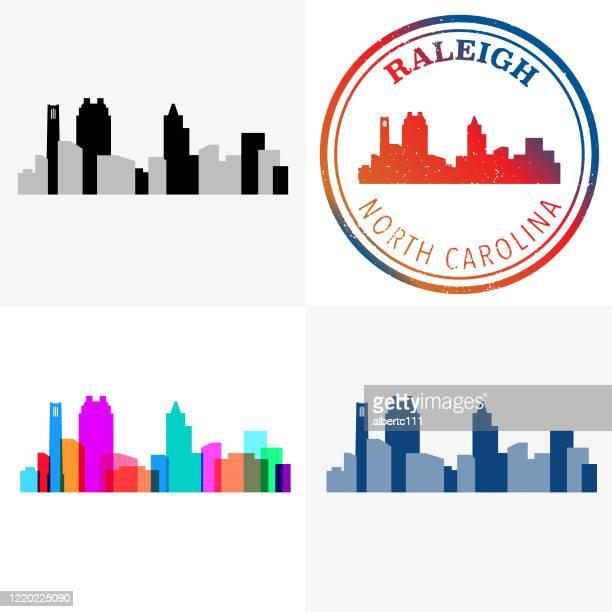 ローリー ノースカロライナ スタンプアンドシティスケープ - ノースカロライナ州ローリー点のイラスト素材/クリップアート素材/マンガ素材/アイコン素材