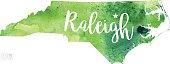 Raleigh, North Carolina, USA Vector Watercolor Map