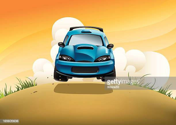 rally car in action - rally car racing stock illustrations, clip art, cartoons, & icons