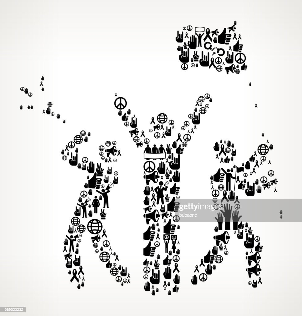 Rally Celebration  Protest and Civil Rights Vector Icon Background : Stock Illustration