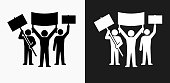 Rally Group Icon on Black and White Vector Backgrounds