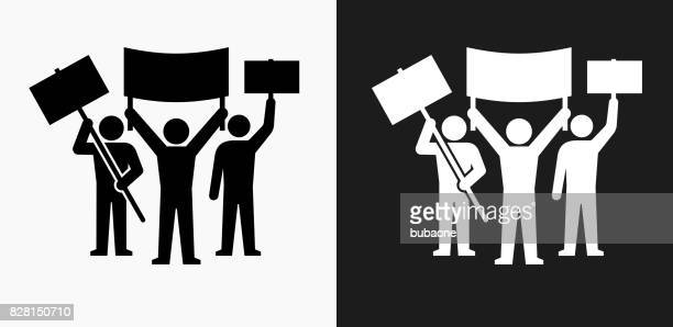 rally group icon on black and white vector backgrounds - protest stock illustrations, clip art, cartoons, & icons
