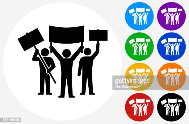 rally group icon on flat color circle buttons - political rally stock illustrations, clip art, cartoons, & icons