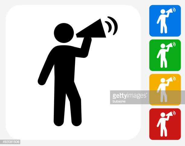 rally megaphone icon flat graphic design - activist icon stock illustrations