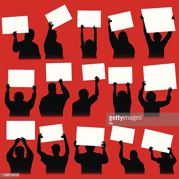 rally signs - protest stock illustrations, clip art, cartoons, & icons