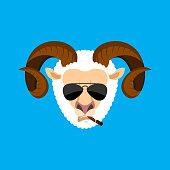 Ram Cool serious avatar of emotions. Sheep smoking cigar emoji. Farm animal strict. Vector illustration