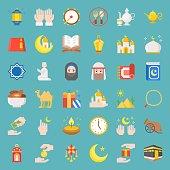 ramadan and eid Mubarak celebration icon, flat design