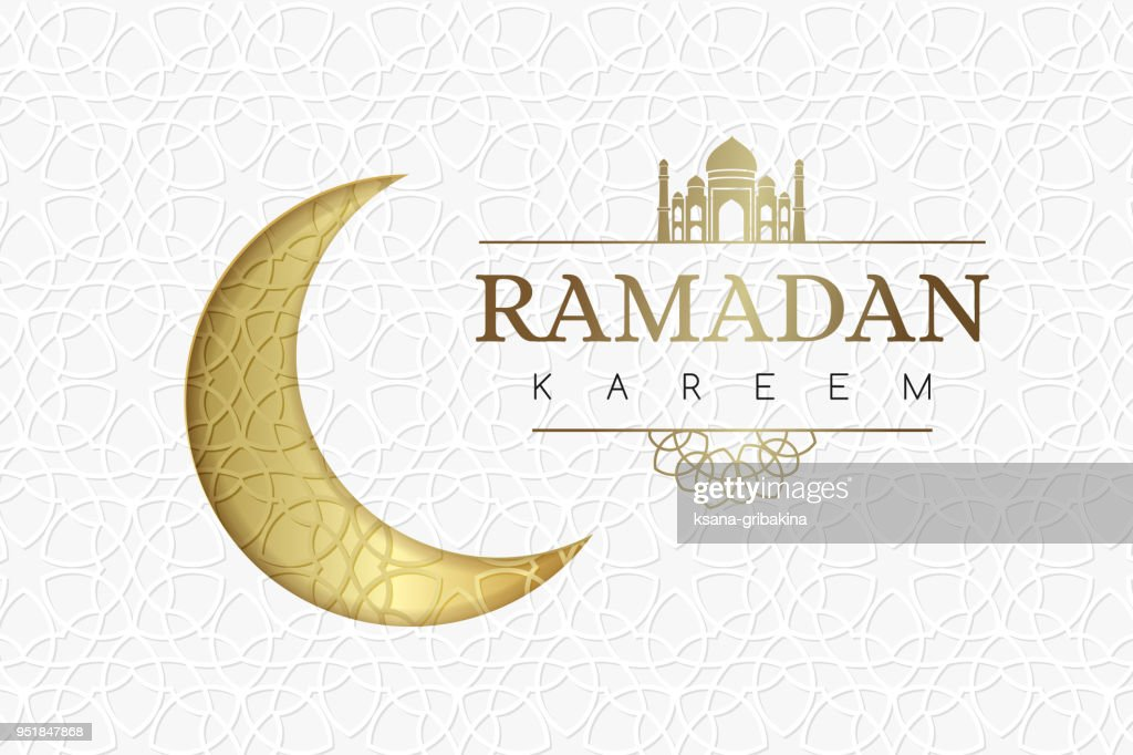 Ramadan background with golden moon and geometric white texture.