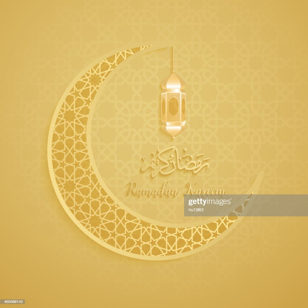 ramadan backgrounds crescent moon vector  with Arabic pattern