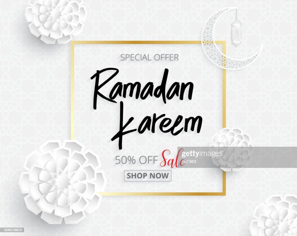 ramadan backgrounds vector  sale promotion banner on Arabic pattern