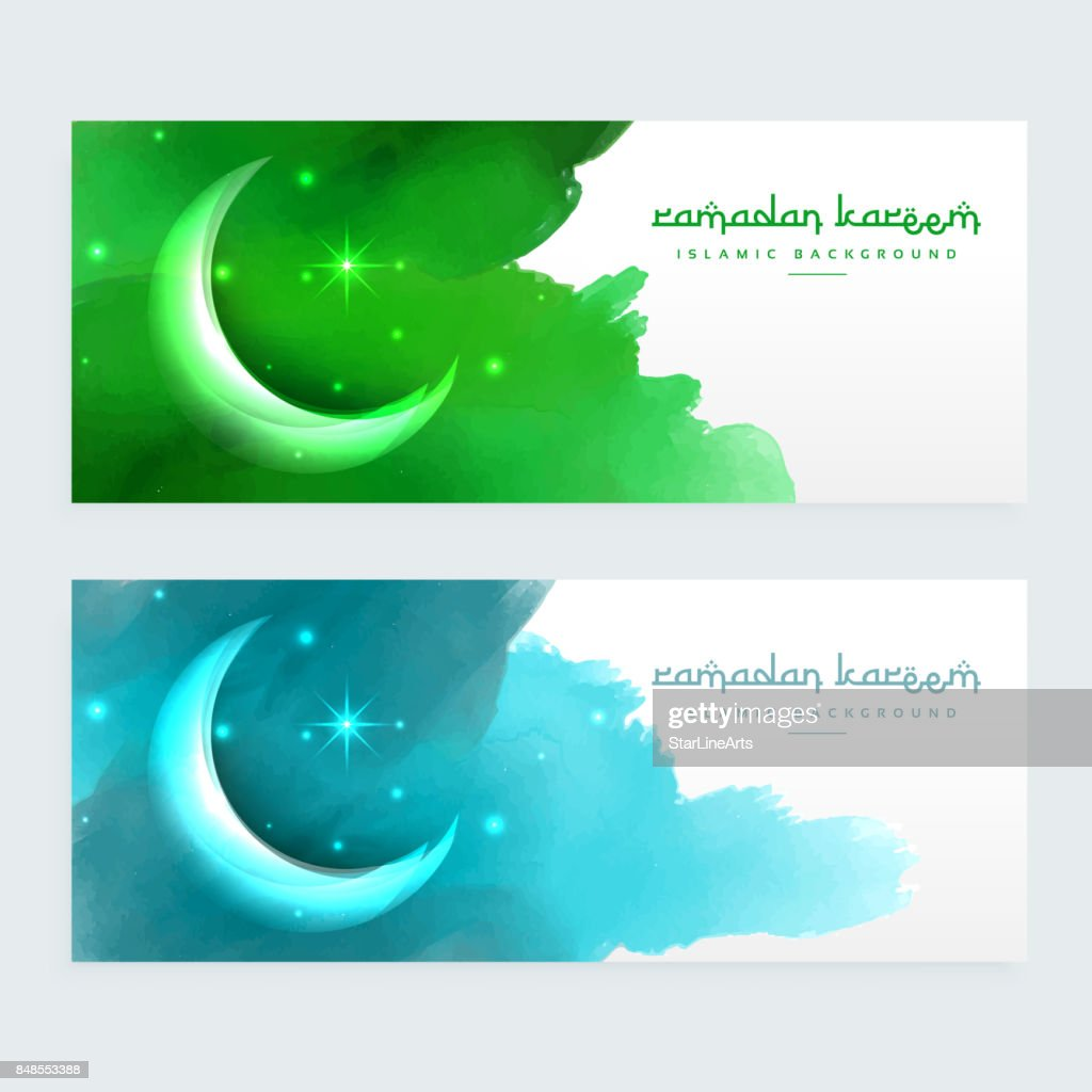 ramadan banners design with moon
